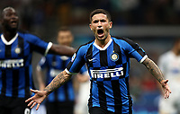 Calcio, Serie A: Inter Milano - Lecce, Giuseppe Meazza stadium, September 26 agosto 2019.<br /> Inter's Stefano Sensi celebrates after scoring during the Italian Serie A football match between Inter and Lecce at Giuseppe Meazza (San Siro) stadium, September August 26,, 2019.<br /> UPDATE IMAGES PRESS/Isabella Bonotto