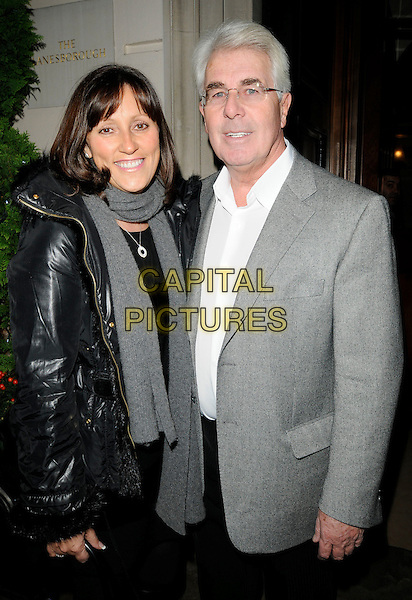JO WESTWOOD & MAX CLIFFORD.At the Livedrive new online file backup software launch, Lanesborough Hotel, London, England, UK, .1st December 2009..half length grey gray scarf suit jacket white shirt black coat .CAP/CAN.©Can Nguyen/Capital Pictures.