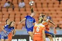 Houston, TX - Wednesday June 28, 2017: Morgan Andrews wins a header over Amber Brooks during a regular season National Women's Soccer League (NWSL) match between the Houston Dash and the Boston Breakers at BBVA Compass Stadium.