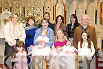 Triplets Christened: Triplets Delia Janina & Ashley Doyle were christened at St Mary's Church, Listowel by Canon Declan O'Connor on Saturday 17th September. Front: Margaruite O'Halloran, Aidan with Delia Doyle, Diana with Janina & Ashley Doyle & Karina O'Halloran. Back : Collette O'Halloran, Margaruite Doyle, John Mix, Marie Foley, Amanda Doyle & Joe Doyle.