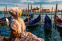 Woman in carnival costume, Venice Carnival (Carnevale di Venezia), Venice, Italy