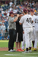 Mississippi State Bulldogs DIrector of Baseball Operation Tyler Bratton before Game 1 of the 2013 Men's College World Series Finals against the UCLA Bruins on June 24, 2013 at TD Ameritrade Park in Omaha, Nebraska. The Bruins defeated the Bulldogs 3-1, taking a 1-0 lead in the best of 3 series. (Andrew Woolley/Four Seam Images)