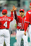 1 May 2011: Washington Nationals infielder Jerry Hairston Jr. celebrates victory against the San Francisco Giants at Nationals Park in Washington, District of Columbia. The Nationals defeated the Giants 5-2. Mandatory Credit: Ed Wolfstein Photo