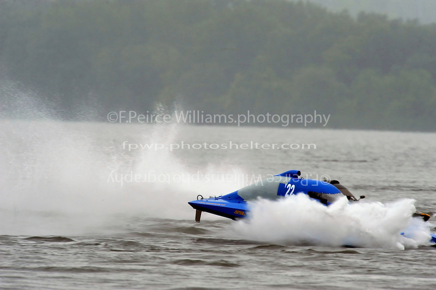 Richard Shaw, Y-22, I.5 Litre Mod class hydroplane, takes a bad hop and stuffs..Syracuse Hydrofest, Onondaga Lake, Syracuse, NY.20/21 June, 2009, Dayton, OH USA..©F. Peirce Williams 2009 USA.F.Peirce Williams.photography.ref: RAW (.NEF) File Available