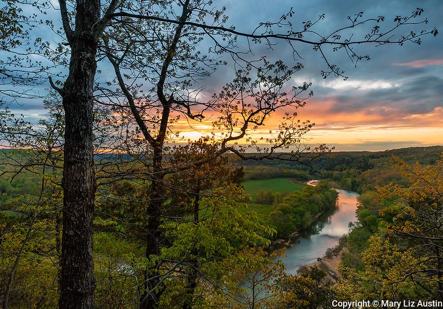 Buffalo National River, Arkansas: Sunset clouds over the Buffalo River near Tyler Bend