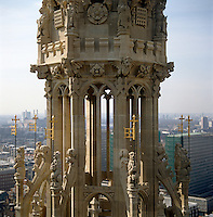 One of the stone turrets at the top of Victoria Tower