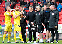 Fleetwood Town manager Joey Barton gives instructions to his side during a break in play<br /> <br /> Photographer David Shipman/CameraSport<br /> <br /> The EFL Sky Bet League One - Doncaster Rovers v Fleetwood Town - Saturday 6th October 2018 - Keepmoat Stadium - Doncaster<br /> <br /> World Copyright &copy; 2018 CameraSport. All rights reserved. 43 Linden Ave. Countesthorpe. Leicester. England. LE8 5PG - Tel: +44 (0) 116 277 4147 - admin@camerasport.com - www.camerasport.com