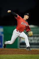 Batavia Muckdogs relief pitcher Tanner Andrews (34) delivers a pitch during a game against the West Virginia Black Bears on July 3, 2018 at Dwyer Stadium in Batavia, New York.  Batavia defeated West Virginia 5-4.  (Mike Janes/Four Seam Images)