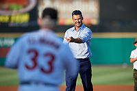 Former big leaguer Garrett Jones throws out the first pitch prior to a game between the Rochester Red Wings and the Lehigh Valley IronPigs on June 30, 2018 at Frontier Field in Rochester, New York.  Lehigh Valley defeated Rochester 6-2.  (Mike Janes/Four Seam Images)