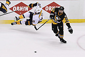 8th June 2017, Pittsburgh, PA, USA; Pittsburgh Penguins defenseman Ron Hainsey (65) avoids a check by Nashville Predators left wing James Neal (18) during the second period in Game Five of the 2017 NHL Stanley Cup Final between the Nashville Predators and the Pittsburgh Penguins on June 8, 2017, at PPG Paints Arena