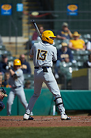 Kevin Brophy (13) of the West Virginia Mountaineers at bat against the Illinois Fighting Illini at TicketReturn.com Field at Pelicans Ballpark on February 23, 2020 in Myrtle Beach, South Carolina. The Fighting Illini defeated the Mountaineers 2-1.  (Brian Westerholt/Four Seam Images)