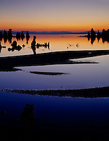 Mono Basin Scenic Area, CA<br /> Dawn sky colors reflecting among the sandbar patterns near Mono Lake's South Tufa Area