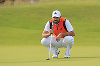 Sergio Garcia (ESP) lines up his putt on the 14th green during Thursday's Round 1 of the 145th Open Championship held at Royal Troon Golf Club, Troon, Ayreshire, Scotland. 14th July 2016.<br /> Picture: Eoin Clarke | Golffile<br /> <br /> <br /> All photos usage must carry mandatory copyright credit (&copy; Golffile | Eoin Clarke)