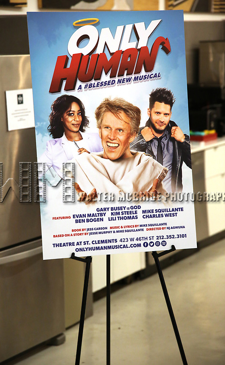 "Poster signage for ""Only Human - A #Blessed New Musical"" Sneak Peek at The Yard Herald Square on September 17, 2019 in New York City."