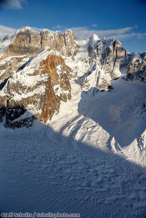 Aerial Winter landscape of granite spires of the Alaska Range with Ruth Glacier  Winter 2017<br /> <br /> Photo by Jeff Schultz/SchultzPhoto.com  (C) 2017  ALL RIGHTS RESERVED