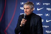 14th January 2020; Camp Nou, Barcelona, Catalonia, Spain; Press Conference for the introduction of the new manager Barcelona manager Quique Setien; Quique Setien speaks to the press during the presentation - Editorial Use