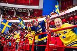 Stockholm 2014-05-03 Ishockey Oddset Hockey Games  Sverige - Finland :  <br /> Unga Sverige supportrar &auml;r glada under matchen<br /> (Foto: Kenta J&ouml;nsson) Nyckelord:  Oddset Hockey Games Sverige Swe Tre Kronor Finland Fin Globen Ericsson Globe Arena supporter fans publik supporters