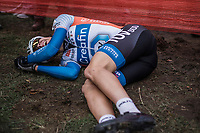 The Koppenberg is a brute.<br /> Lander Loockx (BEL/Creafin -TUF SUD) after finishing 4th.<br /> <br /> Men U23 race.<br /> Koppenbergcross Belgium 2018