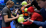 London UK 18h November 2018 Nitto ATP World Tour Finals at 02 Arena London UK Final: Novak Djokovic SRB Vs Alexander Zverev GER  Zverev signs kids tennis balls after the match which he won 6-4 6-3
