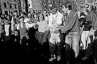 New York, NY - 17 March 1991 - Mayor David Dinkins dances with members of ILGO (Irish Lesbian and Gay Organization) in Sheridan Square, one day after they were booed while marching in the St. Patrick's Day Parade.