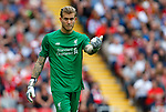 Liverpool's Loris Karius gestures during the premier league match at Anfield Stadium, Liverpool. Picture date 27th August 2017. Picture credit should read: Paul Thomas/Sportimage