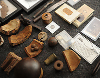 NWA Democrat-Gazette/ANDY SHUPE<br /> Civil War-era artifacts sit on display Saturday, Aug. 22, 2015, during an open house at the Elm Springs Historical Society's Heritage Center in Elm Springs. The group plans to further develop the center's offerings and to host activities in the future to celebrate the historical significance of the town.
