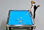 Jasmin  Oushan de Austria, participa de la competencia de billar pool en el Coliseo de Billar durante los Juegos Mundiales 2013 en Cali, Colombia, 26 de julio 2013.<br /> Foto: Coldeportes/Archivolatino<br /> <br /> COPYRIGHT: Coldeportes. Imagen distribuida para difusi&radic;?n de los Juegos Mundiales 2013. Prohibida su venta y uso comercial.