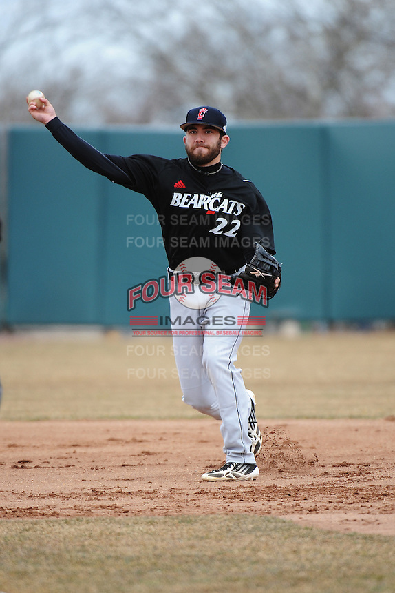 Cincinnati Bearcats infielder Matt Williams (22) during 1st game of double header against the St. John's Redstorm at Jack Kaiser Stadium on March 28, 2013 in Queens, New York. St. John's defeated Cincinnati 6-5.      . (Tomasso DeRosa/ Four Seam Images)