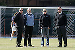 28 November 2008: From left: Texas A&M assistant coach Phil Stephenson, UNC assistant coach Bill Palladino, UNC volunteer assistant coach Cindy Parlow, Texas A&M head coach G Guerrieri. The University of North Carolina Tar Heels defeated the Texas A&M University Aggies 1-0 in double overtime at Fetzer Field in Chapel Hill, North Carolina in a Fourth Round NCAA Division I Women's college soccer tournament game.