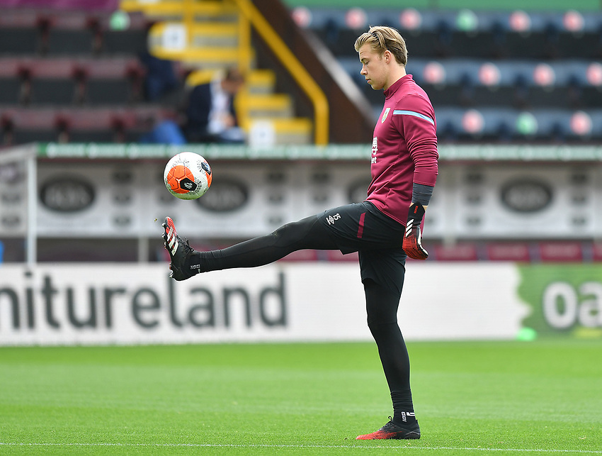 Burnley's Bailey Peacock-Farrell warms up<br /> <br /> Photographer Dave Howarth/CameraSport<br /> <br /> The Premier League - Burnley v Brighton & Hove Albion - Sunday 26th July 2020 - Turf Moor - Burnley<br /> <br /> World Copyright © 2020 CameraSport. All rights reserved. 43 Linden Ave. Countesthorpe. Leicester. England. LE8 5PG - Tel: +44 (0) 116 277 4147 - admin@camerasport.com - www.camerasport.com