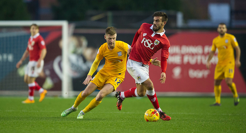 Preston North End's Paul Gallagher battles with Bristol City's Marlon Pack<br /> <br /> Photographer Stephen White/CameraSport<br /> <br /> Football - The Football League Sky Bet League One - Bristol City v Preston North End - Saturday 22nd November 2014 - Ashton Gate - Bristol <br /> <br /> &copy; CameraSport - 43 Linden Ave. Countesthorpe. Leicester. England. LE8 5PG - Tel: +44 (0) 116 277 4147 - admin@camerasport.com - www.camerasport.com