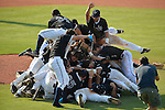 4 JUNE 2016:  Nova Southeastern University players celebrate after defeating Millersville University to win  the Division II Men's Baseball Championship held at the USA Baseball National Training Complex in Cary, NC.  Nova Southeastern University defeated Millersville University 8-6 to win the national title.  Sandy Halverson/NCAA Photos