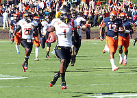 Maryland Terrapins wide receiver Stefon Diggs (1) returns the opening kickoff for 100 yards during the game against Virginia in Charlottesville, Va. Maryland defeated Virginia 27-20.