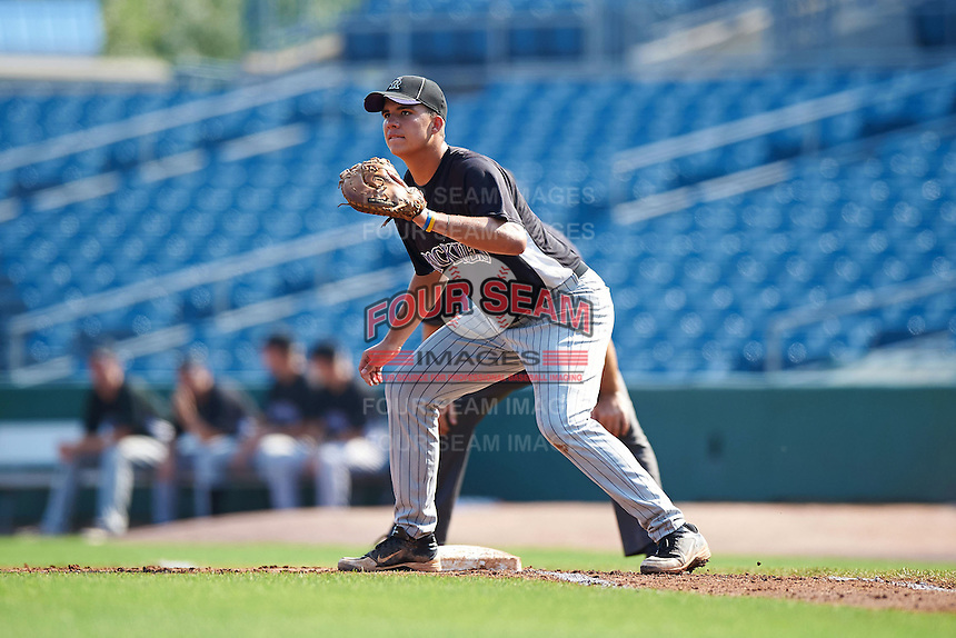 Colby Bortles #26 of Oviedo High School in Oviedo, Florida playing for the Colorado Rockies scout team during the East Coast Pro Showcase at Alliance Bank Stadium on August 4, 2012 in Syracuse, New York.  (Mike Janes/Four Seam Images)