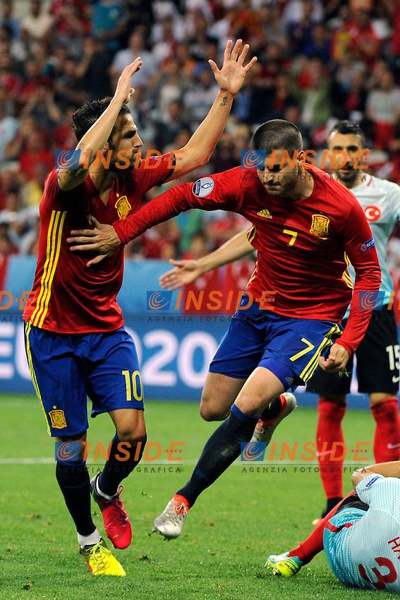 Esultanza Gol Alvaro Morata Spain Goal celebration <br /> Nice 17-06-2016 Stade de Nice Football Euro2016 Spain - Turkey / Spagna - Turchia Group Stage Group D. Foto Franck Pennant / Panoramic / Insidefoto