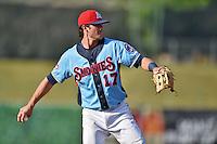 Tennessee Smokies third baseman Kris Bryant #17 between innings during a game against the Birmingham Barons at Smokies Park on May 31, 2014 in Kodak, Tennessee. The Barons defeated the Smokies 2-1. (Tony Farlow/Four Seam Images)