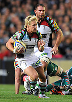 Leicester, England. Matt Hopper of Harlequins in action  during the Aviva Premiership match between Leicester Tigers and Harlequins at Welford Road on September 22, 2012 in Leicester, England.