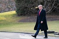United States President Donald J. Trump walks on the South Lawn of the White House to board Marine One on Thursday, January 9th, 2020 in Washington, D.C. Trump departs the White House to attend a campaign rally in Toledo, Ohio before retuning to Washington, D.C. tonight.  <br /> Credit: Alex Edelman / Pool via CNP/AdMedia
