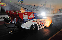 Jan 25, 2009; Chandler, AZ, USA; NHRA funny car driver Robert Hight launches off the starting line during testing at the National Time Trials at Firebird International Raceway. Mandatory Credit: Mark J. Rebilas-