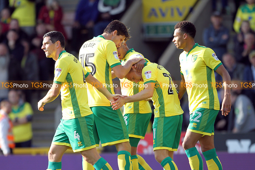 Norwich celebrate the first goal during Norwich City vs Rotherham United, Sky Bet EFL Championship Football at Carrow Road on 15th October 2016