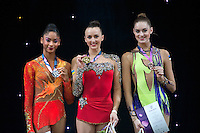 "February 13, 2016 - Tartu, Estonia - (L-R) NASTASYA GENERALOVA of USA (silver) ANNA RIZATDINOVA of Ukraine (gold) and CARMEL KALLEMAA of Estonia (bronze) are winners in the All-Around at ""Miss Valentine"" 2016 international tournament."