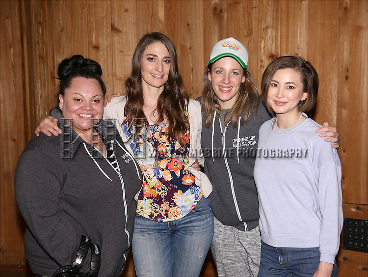 Keala Settle, Sara Bareilles, Jessie Mueller and Kimiko Glenn attend the 'Waitress' Broadway cast recording at MSR Studios on May 2,, 2016 in New York City.