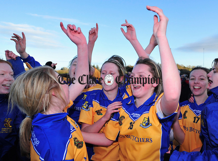 The Sixmilebridge girls celebrate their victory. Photograph by Declan Monaghan