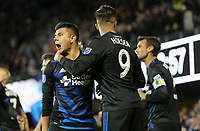 San Jose, CA - Saturday March 03, 2018: Nick Lima, Danny Hoesen during a 2018 Major League Soccer (MLS) match between the San Jose Earthquakes and Minnesota United FC at Avaya Stadium.