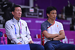 (L-R)  Park Joo Bong,   Kei Nakashima (JPN), <br /> AUGUST 22, 2018 - Badminton : Women's Team Final match between China 1-3 Japan at Gelora Bung Karno Istora during the 2018 Jakarta Palembang Asian Games in Jakarta, Indonesia. <br /> (Photo by MATSUO.K/AFLO SPORT)