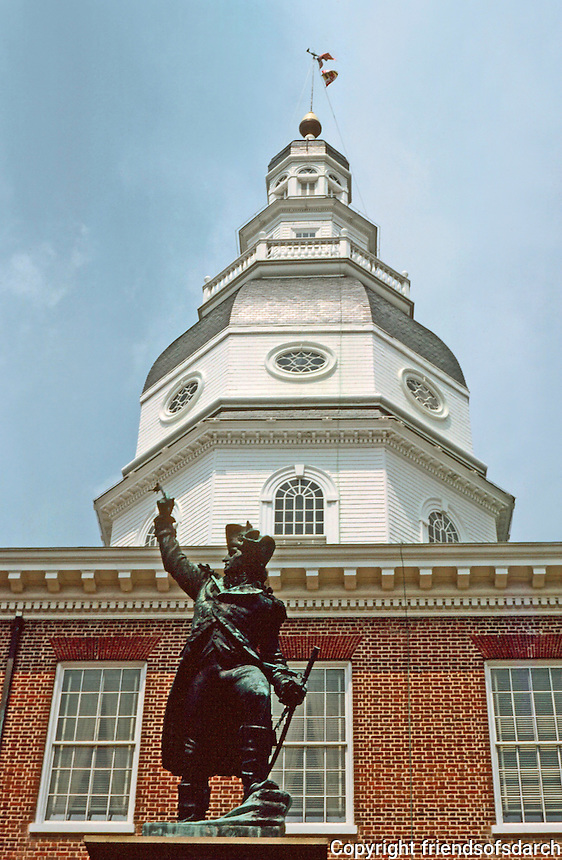 Annapolis:  State House cupola and Statue of Gen. Johann DeKalb. Oldest State House still in legislative use. Designated National Historic Landmark, 1960.  The General served in the Continental Army during the Am. Revolution. Photo '85.