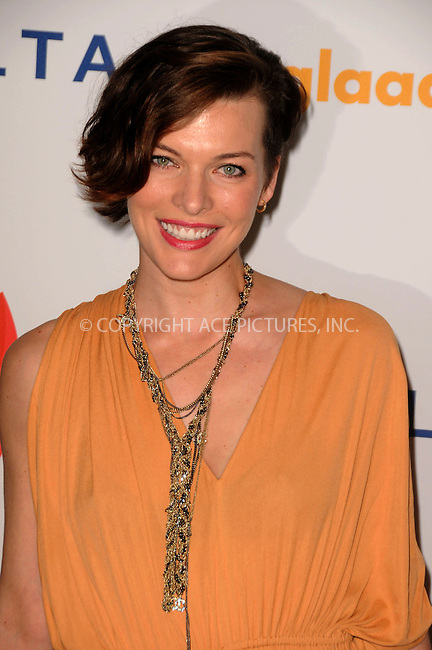 WWW.ACEPIXS.COM . . . . .  ....April 21 2012, LA....Milla Jovovich arriving at the 23rd Annual GLAAD Media Awards at the Westin Bonaventure Hotel on April 21, 2012 in Los Angeles, California....Please byline: PETER WEST - ACE PICTURES.... *** ***..Ace Pictures, Inc:  ..Philip Vaughan (212) 243-8787 or (646) 769 0430..e-mail: info@acepixs.com..web: http://www.acepixs.com