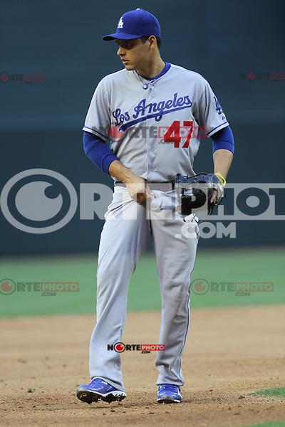 Luis Cruz o el Cochito Cruz de Dodgres no tubo buena actuacion durante el partido de Ligas Mayores de beisbol,  Los Dodgers de Los Angeles (LA) vs Diamondbacks de Arizona en el estadio Chase Field, 13 de Abril del 3013 en Phoenix Arizona. ...NORTEPHOTO