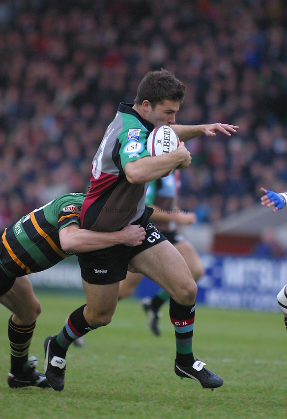 Photo: Jo Caird..Harlequins v Northampton . Zurich Premiership..08/11/2003..Chris Bell is tackled.