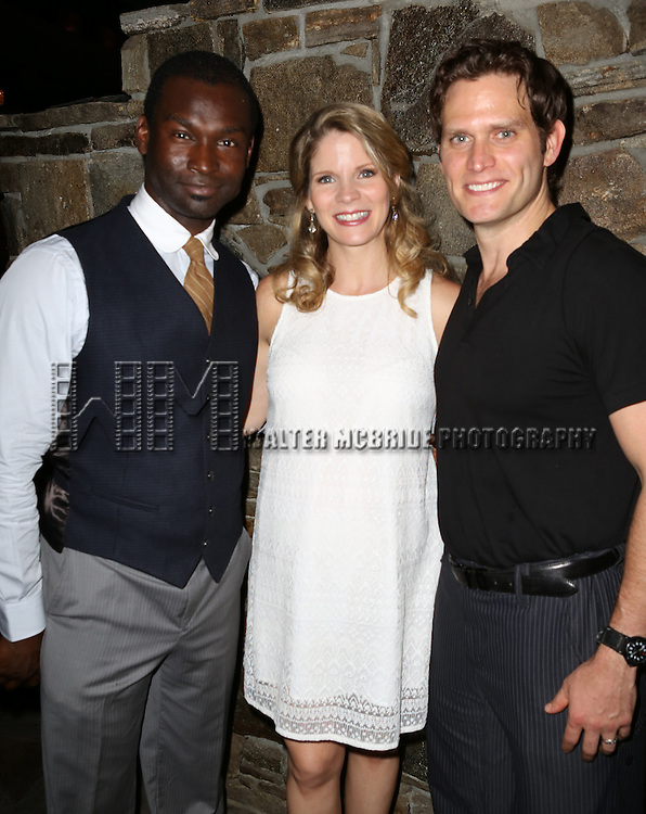 Isaiah Johnson, Kelli O'Hara, Steven Pasquale attending the Opening After Party for the Playwrights Horizons World Premiere production of the new musical 'FAR FROM HEAVEN' at Tir Na Nog Irish Pub & Grill  in New York City on June 02, 2013.